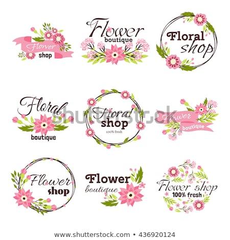 vintage flower shop emblems stock photo © netkov1