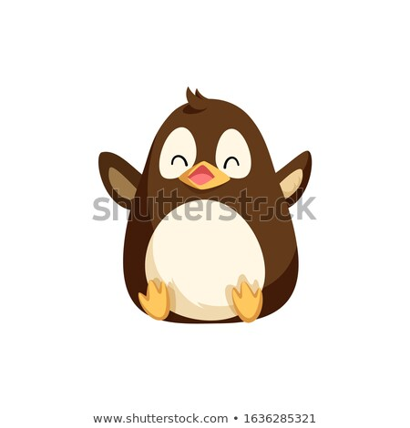 North Pole Penguin Sitting on Bottom and Laughing Stock photo © robuart