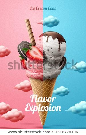 Eper csokoládé nápolyi tömés fehér bár Stock fotó © magraphics