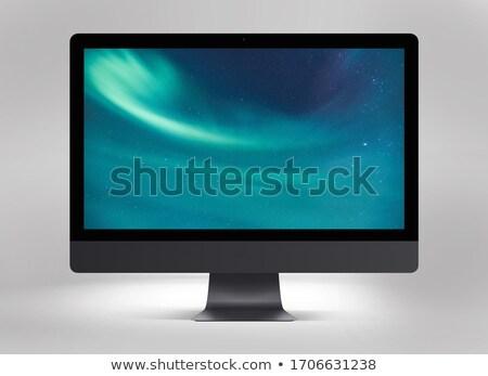 Mãos aplicação ícones secretária azul composição digital Foto stock © wavebreak_media