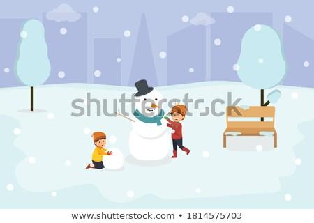 sneeuwpop · winterlandschap · bomen · sneeuw · boom · partij - stockfoto © kotenko