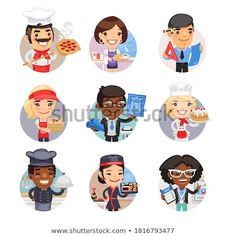 повар Бейкер Кука круга Cartoon набор Сток-фото © patrimonio