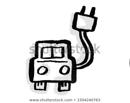 Electric Vehicle EV Charging Station Cartoon Drawing Stock photo © patrimonio