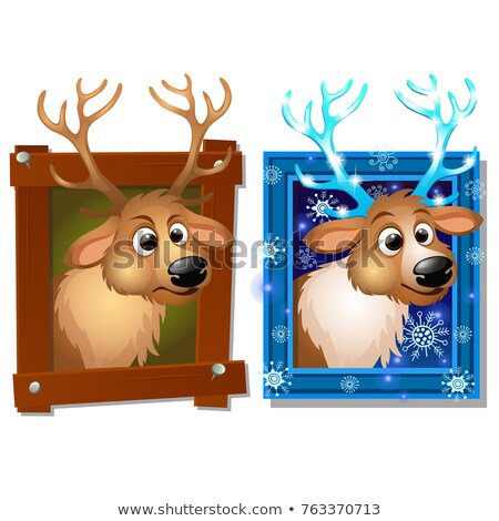 Wall-mounted picture in a wooden frame with deer isolated on a white background. Sketch of Christmas Stock photo © Lady-Luck
