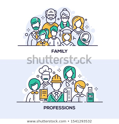 Family and professions vector banner templates set Stock photo © Decorwithme