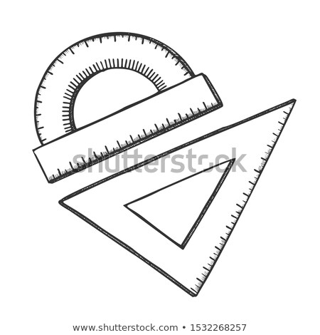 Ruler And Angle Protractor School Tools Ink Vector Stock photo © pikepicture