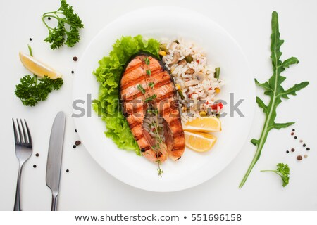 grilled salmon served with risotto stock photo © grafvision