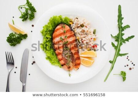 Gegrild zalm geserveerd risotto courgette champignon Stockfoto © grafvision