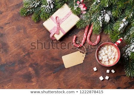 Karácsony ajándék doboz cukorka forró csokoládé mályvacukor csésze Stock fotó © karandaev
