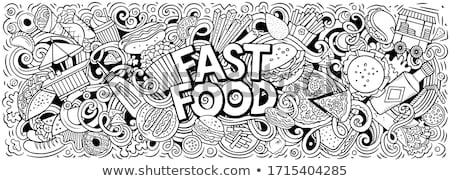 Fastfood hand drawn doodles illustration. Fast food poster design Stock photo © balabolka
