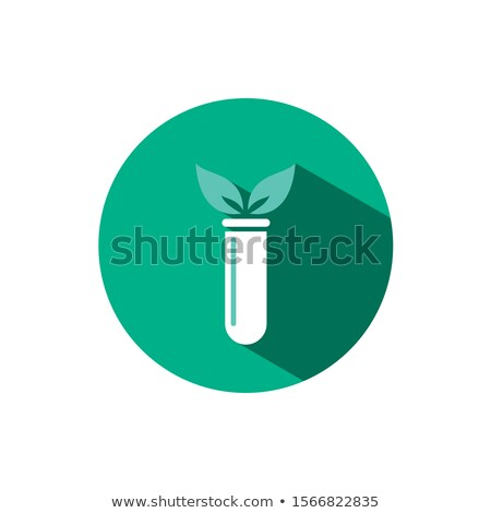 Lab plant icon with shadow on a green circle. Vector pharmacy illustration Stock photo © Imaagio