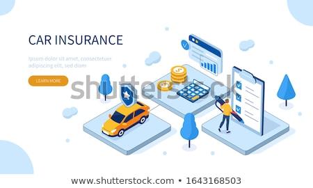 Online samochodu ubezpieczenia izometryczny plakat Zdjęcia stock © -TAlex-