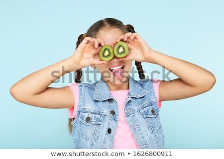 Portret gelukkig vrouw kiwi vruchten Stockfoto © Lopolo