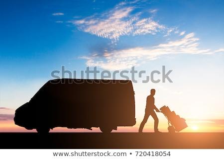 силуэта доставки курьер картона коробки ван Сток-фото © AndreyPopov