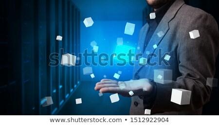 Persoon kubus hologram projectie witte Stockfoto © ra2studio
