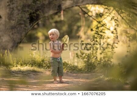 Chłopca boso szorty lasu ścieżka rzeki Zdjęcia stock © ElenaBatkova