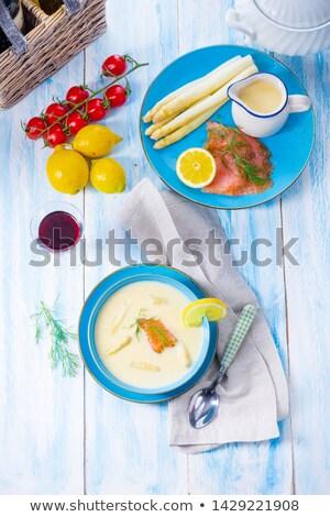 Szparagów zupa łososia tablicy żywności mięsa Zdjęcia stock © val_th
