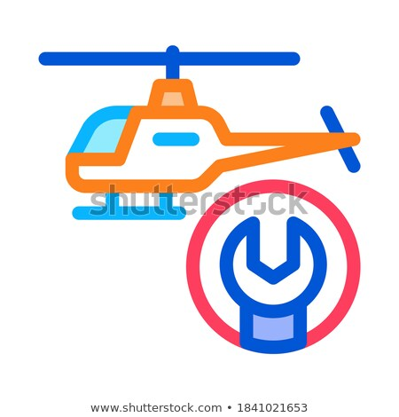 Helicopter Wrench Icon Vector Outline Illustration Stock photo © pikepicture