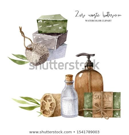Geïsoleerd handgemaakt zeep witte omhoog natuurlijke Stockfoto © Ansonstock