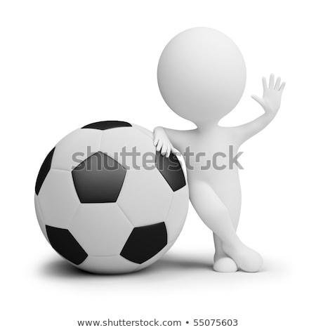 Foto stock: Essoas · pequenas · 3D · - · jogador · de · futebol · com · a · bola · grande