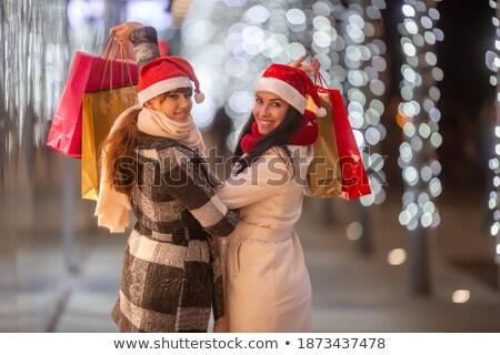 Bela mulher feliz terminar natal compras belo Foto stock © jaykayl