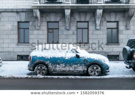 autók · hó · csetepaté · parkolás · fedett · út - stock fotó © mikdam