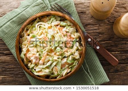 Kremsi lahana salatası geleneksel tatlı lahana havuç Stok fotoğraf © fotogal