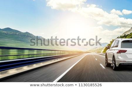 автомобилей шоссе закат небе солнце аннотация Сток-фото © Iscatel
