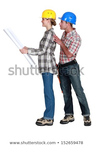 full-body picture of young female architect and male builder against white background Stock photo © photography33
