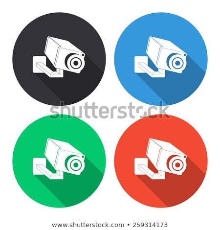 Megfigyelés kamera figyelmeztetés szimbólum matrica biztonság Stock fotó © Ecelop