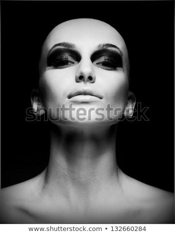 feketefehér · ragyogás · női · portré · gyönyörű · lány · arc - stock fotó © anna_om
