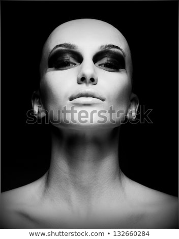 blanco · negro · femenino · retrato · hermosa · niña · cara - foto stock © anna_om