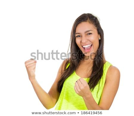 Succes vrouw gelukkig extatisch vieren winnaar Stockfoto © posterize