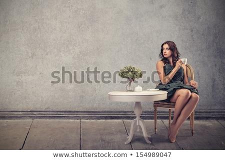 mosolyog · lezser · nő · ül · jóga · pozició - stock fotó © feedough