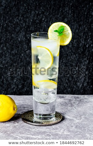 Glass of pure water with ice cubes and lime slice stock photo © karandaev