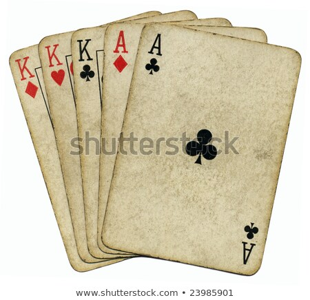 full house aces and kings vintage poker cards isolated over white stock photo © latent