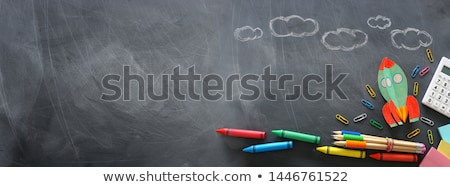 Chalkboard with paperclips stock photo © broker