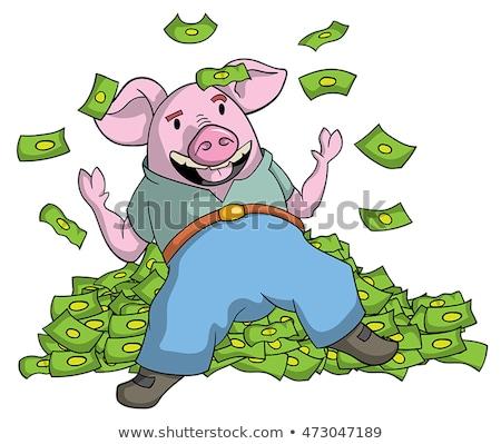 Chciwy wieprzowych banku piggy zielone płytki Zdjęcia stock © danielgilbey