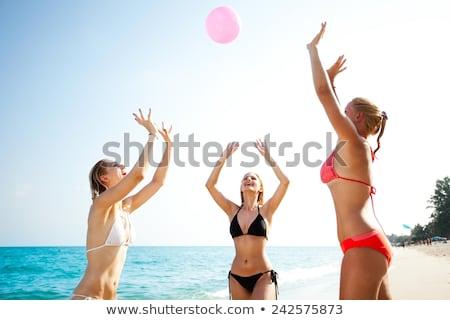 tres · adolescente · jugando · pelota · playa · sol - foto stock © photography33
