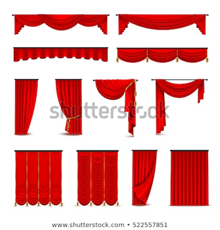 Stock fotó: Red Theater Curtain With Window