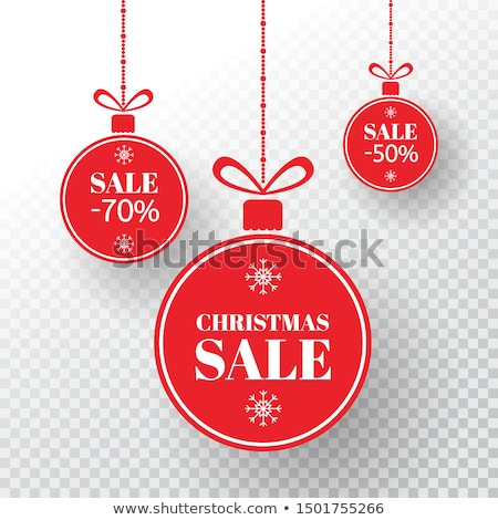 Stok fotoğraf: Special Offer Label With Christmas Ball And Snowflakes