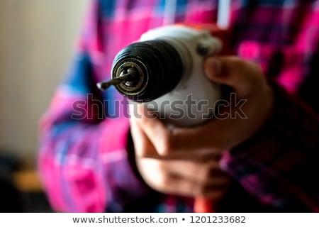 Rzemieślnik wiercenia strony człowiek drewna Zdjęcia stock © photography33