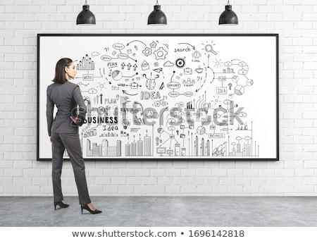 nő · rajz · kördiagram · áll · iroda · megbeszélés - stock fotó © ra2studio