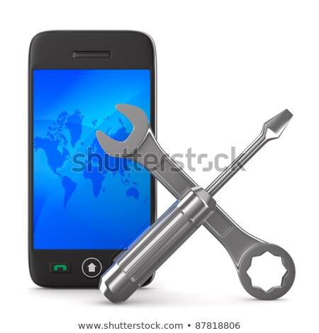 spanner on white background isolated 3d image stock photo © iserg