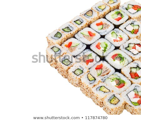 sushi roll big set with different components stock photo © elmiko