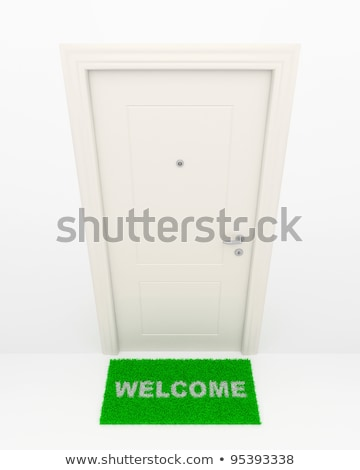 Stock photo: Closed door on green grass