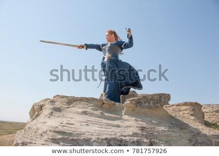 mujer · medieval · espada · sangre · invierno · lucha - foto stock © gsermek