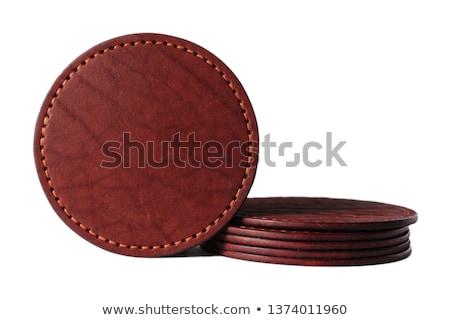Bőr poháralátét izolált fehér textúra háttér Stock fotó © kitch