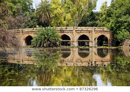 athpula stone bridge reflection lodi gardens new delhi india stock photo © billperry