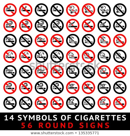 13 symbols of cigarettes 52 round signs stock photo © ecelop
